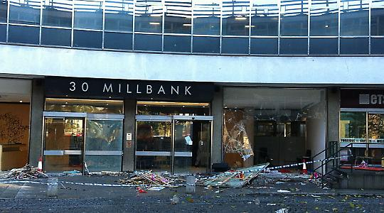 30 Millbank after protest vandalism <br/>Commons