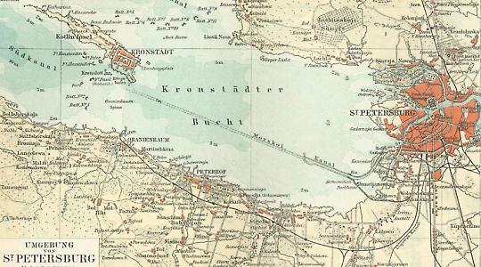 Die Lage Kronstadts vor St. Petersburg