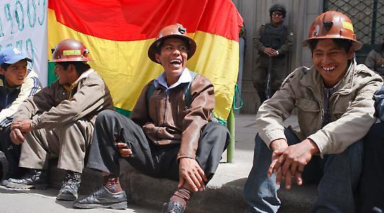 Protestierende Bergarbeiter in La Paz, Bolivien